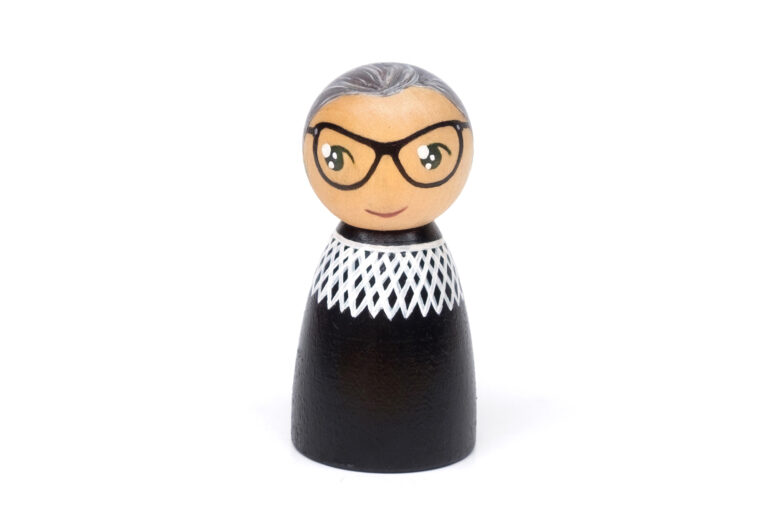 Ruth Bader Ginsburg DREAM BIG painted wooden peg doll, women who changed the world