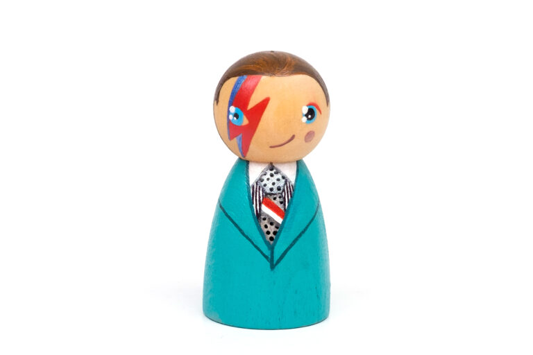 David Bowie DREAM BIG painted wooden peg doll, inspirational people in history