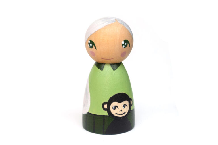 Jane Goodall DREAM BIG painted wooden peg doll, inspirational people for kids