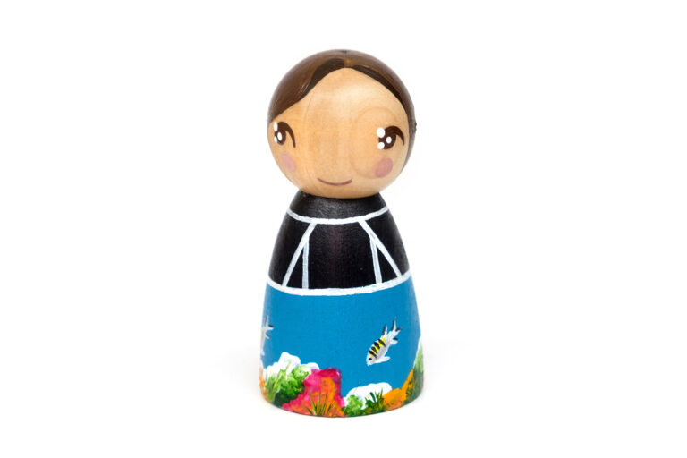 Sylvia Earle DREAM BIG painted wooden peg doll, inspirational women