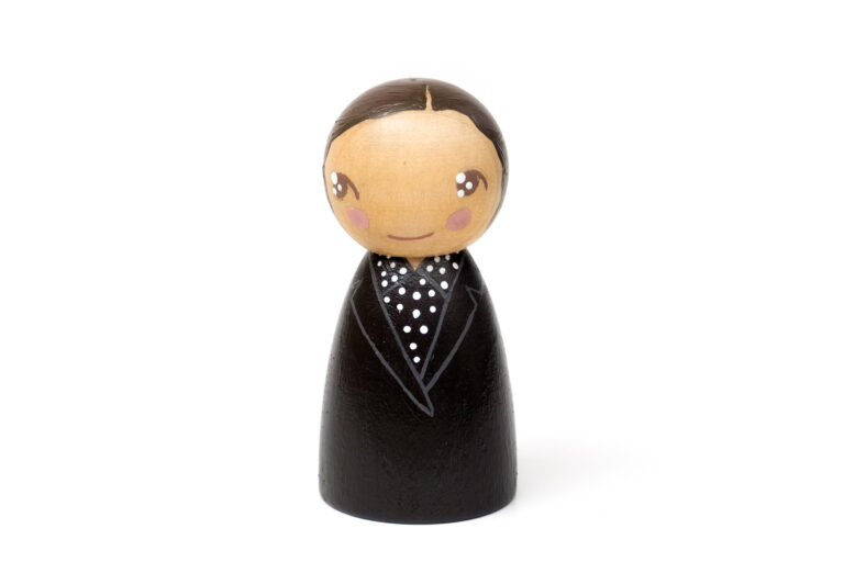 Marie-Madeleine Fourcade DREAM BIG painted wooden peg doll, inspirational women in history