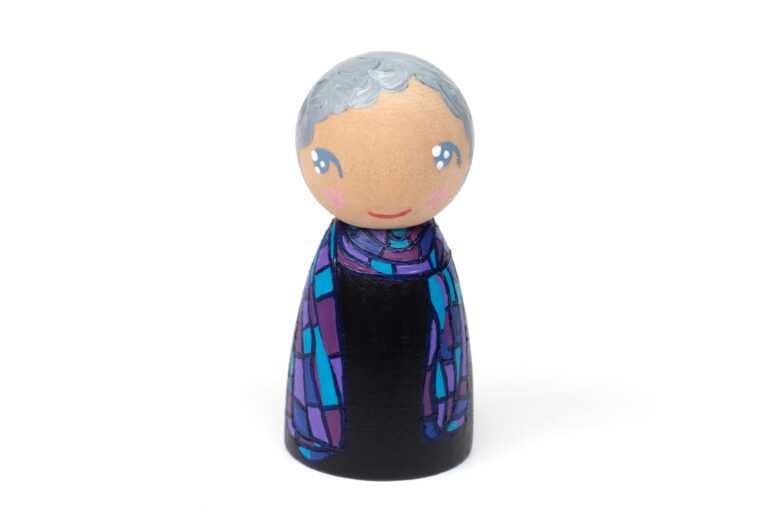 Margaret Atwood DREAM BIG painted wooden peg doll, inspirational women