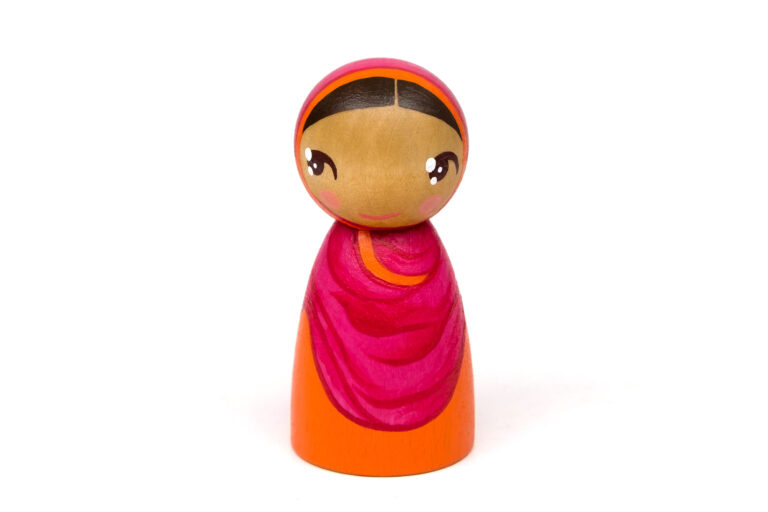 Malala DREAM BIG painted wooden peg doll, feminist toys that promote diversity