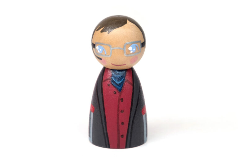 Stephen Hawking DREAM BIG painted wooden peg doll, people who changed the world