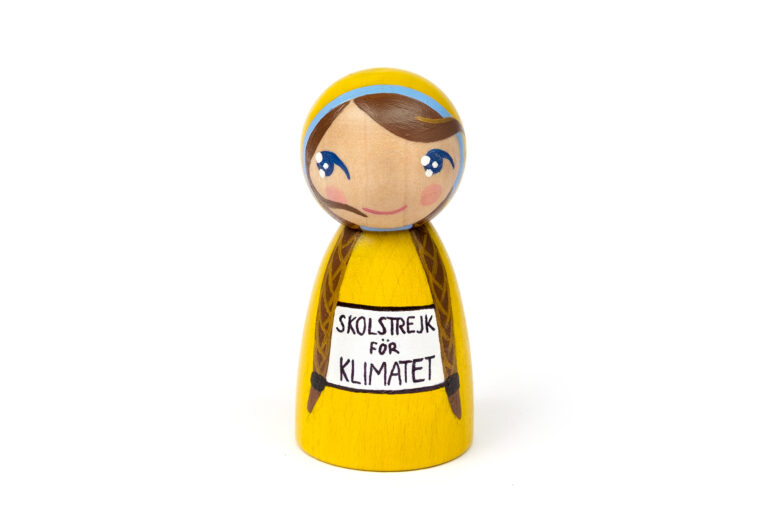 Greta Thunberg DREAM BIG painted wooden peg doll, inspirational people for kids