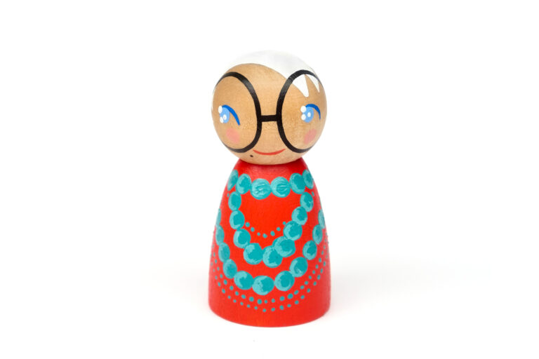 Iris Apfel DREAM BIG painted wooden peg doll, inspirational people in history