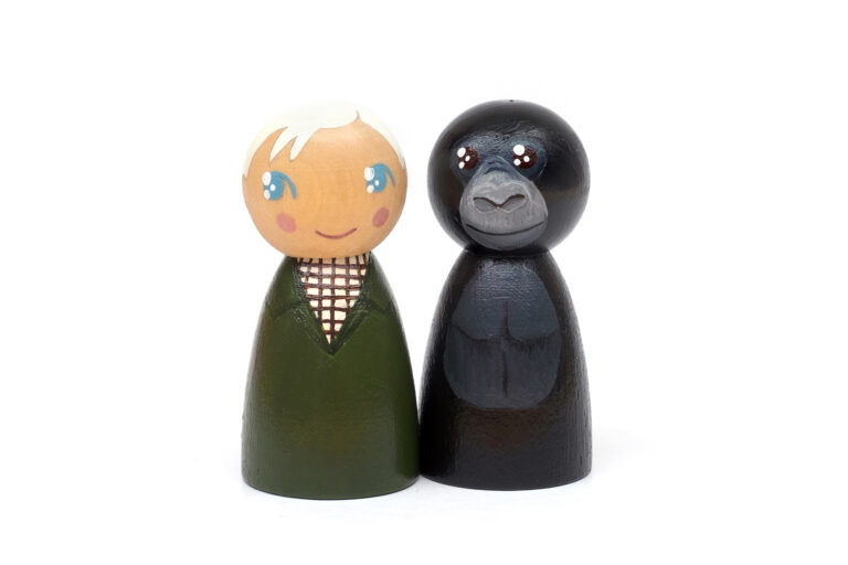 David Attenborough and Poppy DREAM BIG painted wooden peg dolls, inspirational people who changed the world