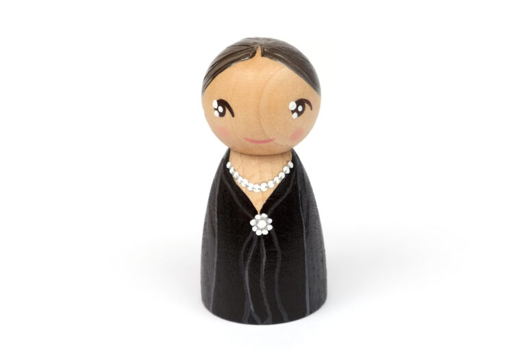 Virginia Woolf DREAM BIG painted wooden peg doll, iconic women in history