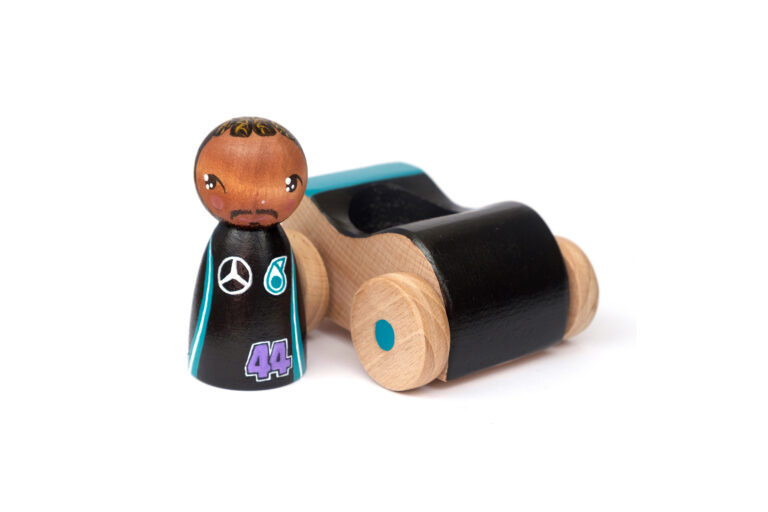 Lewes Hamilton Dream Big painted wooden peg doll and racing car, inspirational people for kids