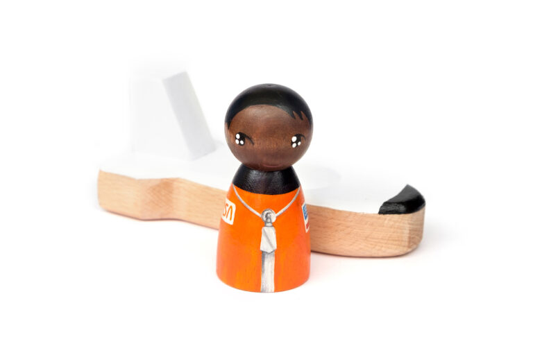 Mae Jemison Dream Big painted wooden peg doll and space shuttle, astronaut peg doll