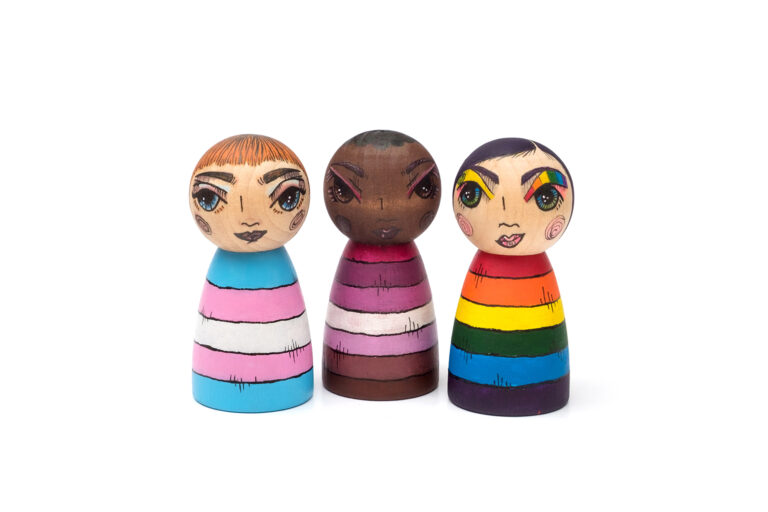 CUSTOM pride portraits. Your face on your flag! painted peg dolls